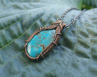 Antique Turquoise Pendant // Wire Wrapped Gemstone Necklace