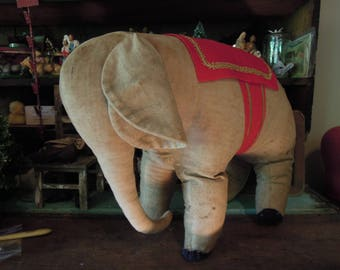 Antique Stuffed Toy Elephant / Collectible Toy / Vintage Elephant Toy