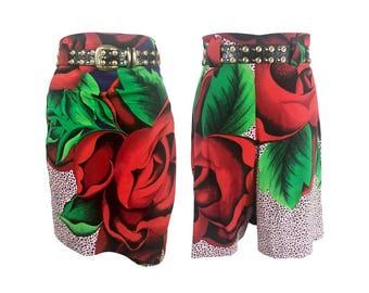 GIANNI VERSACE Vintage Silk Floral Print Skorts sz IT 42 1990s Skirt Shorts