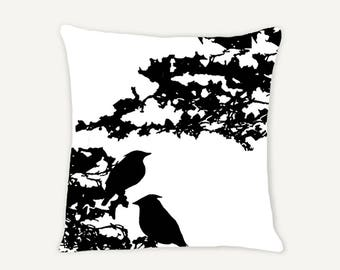Black - Birds in Tree Decorative Indoor Throw Pillow 14x14 - Black and White - Available in Wholesale
