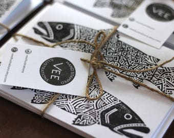 Hand Stamped Trout Greeting Cards. Hand Printed Cards. Blank Cards