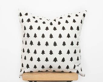Nordic style home decor pillows with modern woodland tree print, handmade designer cushion, scandinavian minimalist nursery decor