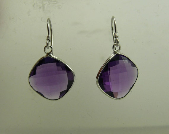 Amethyst Earring with Sterling Silver Setting