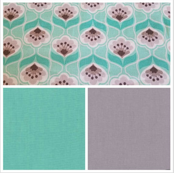 Mint Teal Gray Posies Weighted Blanket, Cotton, Up to Twin Size, 3 to 20 Pounds, Adult Weighted Blanket, SPD, Autism, Calming Blanket