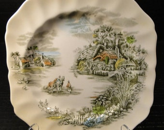 """Johnson Brothers Happy England Square Salad Plate 7 5/8"""" EXCELLENT!"""