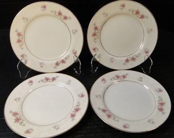 "FOUR MT Hira Rose Wreath Bread Plates 6 3/8"" 6121 Set of 4 EXCELLENT!"