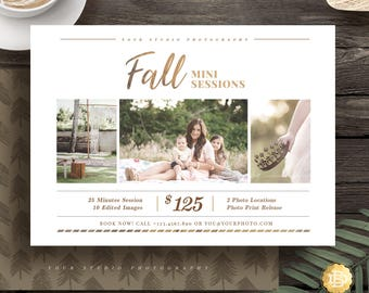 Fall Family Mini Session Template for Photographer, Mini Session Marketing Flyer, Holiday Autumn Session Template - INSTANT DOWNLOAD - MS027