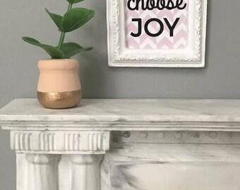 Miniature Plant, Modern Miniature, Dollhouse Accessory, Blush Gold-dipped Vase