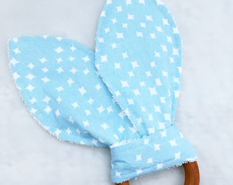Crinkle Wooden Teething Ring - Light Baby Blue/White Dots/Squares w/ White Terry Cloth
