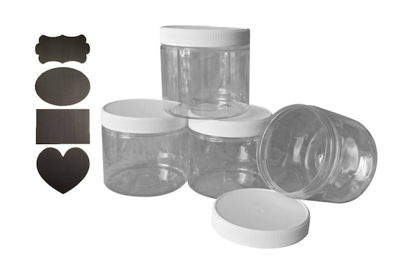 16 oz PET Plastic Jars Clear w/ white caps Qty 6 - Perfect for DIY lotion, creams, bath salts etc + Chalkboard labels