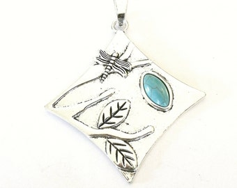 Large Antique Silver Pendant with Dragonfly, Dragonfly Pendant, Silver Dragonfly, Jewelry Making Pendant, Woman's Gift Pendant, Dragonfly