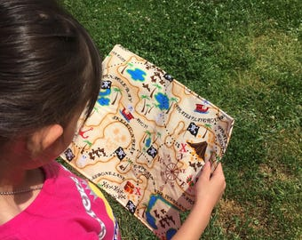 Pirate's Treasure Map, READY TO SHIP, Pirate Map, Fabric Map, Treasure Hunting, Pirate Party Favors, Pirate Adventure Play, Boy or girl gift