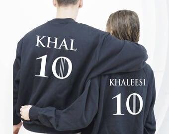 Khaleesi Khal sudaderas, Set de 2 sudaderas Game Of Thrones, para parejas, Khal y Khaleesi, Sudadera Khaleesi Khal Regalo San Valentín, amor