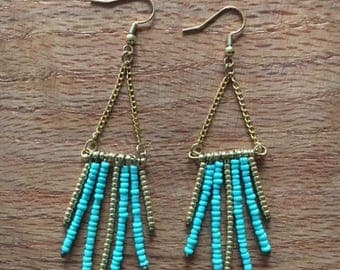 Beaded Boho Earring - Turquoise and Gold