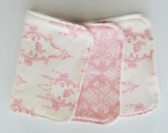 Pink and White Bunny Print Burp Cloths (Set of 3)