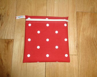 Snack Bag - Bikini Bag - Lunch Bag  - Zero Waste Medium Poppins Waterproof Lined Zip Pouch - Sandwich bag - Eco - Red White Polka Dot
