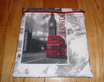 Sandwich bag  - Baggie - Eco - Snack Bag - Bikini Bag - Lunch Bag - Tool Bag - Large Poppins Waterproof Lined Zip Pouch - London Red Bus