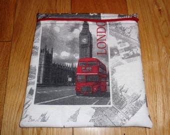 Sandwich bag  - Baggie - Eco - Snack Bag - Bikini Bag - Lunch Bag - Tool Bag - Large Poppins Waterproof Lined Zip Pouch - London Red Bus