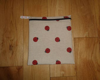 Toiletries Bag - Make Up Bag -  Bikini Bag -  Sandwich bag  -  Eco - Craft Bag - Large Poppins Waterproof Lined Zip Pouch - Ladybird Ladybug