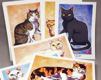 A5 Cat Coat Color Prints - Pick One - Watercolor Illustration Postcards