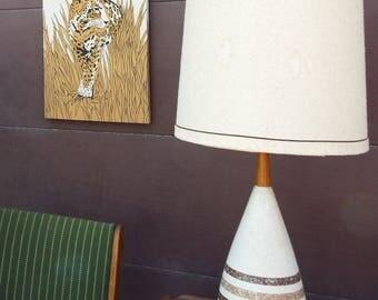Mid Century Modern Danish Teak Textured Ceramic Table Lamp with Brown Stripes
