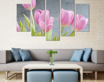 Tulips home art, Tulips, Pink tulips, Flowers decor, Canvas art tulips, Tulips art decor, Ready to Hang Canvas, Wooden Framed Canvas Print