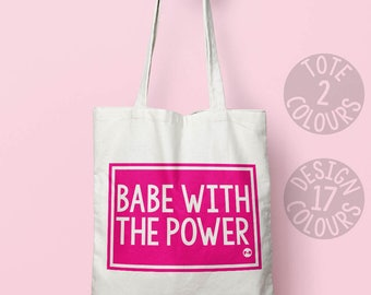 Babe with the Power retro book bag, eco friendly bag, personalized gift for girl, feminist, birthday gift for strong woman, labyrinth