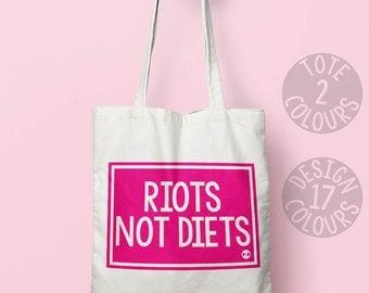 Riots Not Diets, shoulder bag, instagram, xmas gift, birthday gift, activist gift, demonstration, persisted, feminist, feminist af, equality