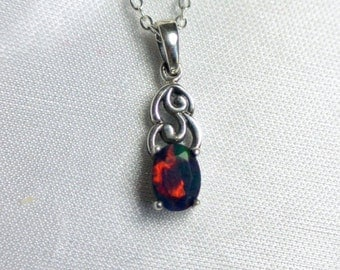 Dainty black opal necklace, black fire opal pendant, black opal necklace, opal necklace, fire opal pendant, genuine black opal, fire opal