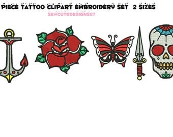 Tattoo style 5 piece bargain bundle embroidery machine design files instant download 2 sizes included