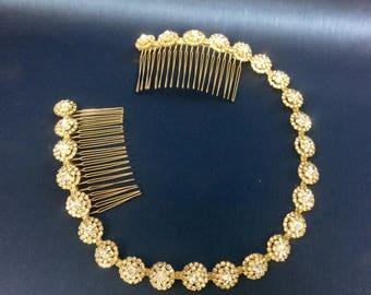 Gold Bridal Headband, Gold Headpiece,  Rhinestone Headband, Hair Tiara, Gold Hair Accessory