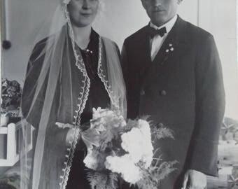 Vintage wedding photo of handsome German couple-40's