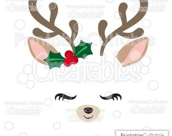 Christmas Reindeer Face SVG Cutting Files & Clipart Set E334 - Includes Limited Commercial Use!