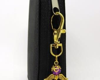 Guardian Angel Bag charm, Purple coloured angel, Purple opaque Angel bag charm, Stocking filler, Gift for a friend, Teachers gift,.
