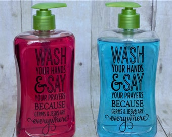 Wash Your Hands Soap Dispenser-Jesus and Germs Soap Dispenser-Kitchen Dispenser-Kids Bathroom Decor-Refillable Dispenser-Liquid Soap-Germs