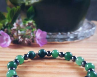 Cool Green Aventurine Hematite and Malachite Silver Charm Beaded Bracelet - Protection, Healing, and Balance