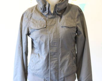 Cute Grey Cotton Bomber Jacket with Plaid Lining and hood