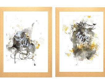 Set of 2 paintings Small mustard grey black white Diptych Original Minimalist vertical Gift for women men artwork wall art decor bedroom