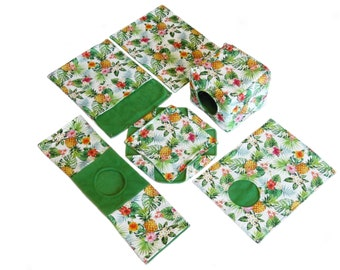 PREMADE Rat hammock set - 6 large hammocks: cube, honeycomb, pocket, rectangle, peek-a-boo, tunnel. Green and pineapples.