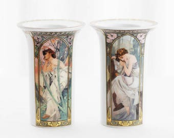 Alphonse MUCHA, collector's porcelain, Goebel Germany, set of 2 tealight holders, Morning/Evening, Night/Day