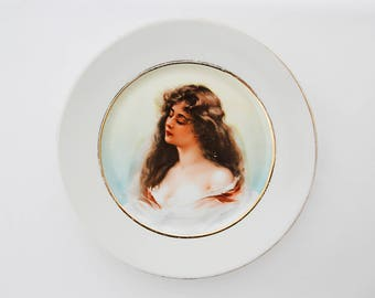 French LIMOGES PORTRAIT plate, beautiful woman, presumably Gladys by A.Asti, pocelain base is made by decorator S.C.D. Limoges, France, 1950