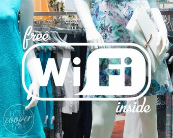 Free Wifi Inside Decal | 3 Sizes | Free WiFi Internet Sticker Sign | Ideal For Shop Front Windows _ID#1393