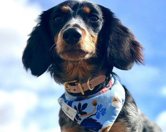 Olivia - Rifle Paper Co flowers and black and white cactus reversible dog bandana, double snap