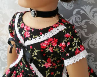 American Girl or 18 Inch Doll 1850's Black and Red Print Dress