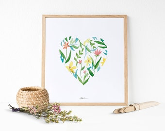 Floral Heart Printable: Valentine gift ideas - Heart decor - instant download art - Heart postcard - Hand painted watercolor clip art