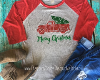 Ladies Vintage Christmas Tree Truck Raglan Shirt