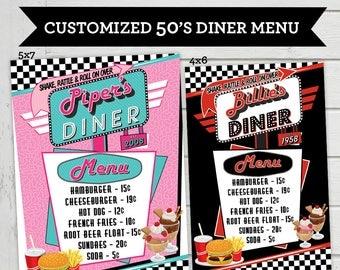 50's Diner Menu Cards Vintage Diner Food List Card Retro Birthday Party 1950's Diner Fiftes Customized Digital File Supplied