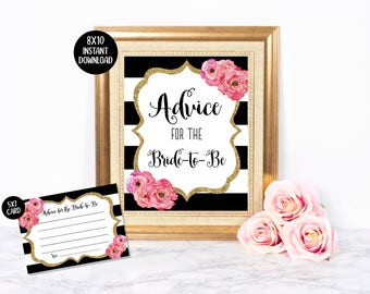 Advice for the Bride Sign & Cards   Bridal Shower Game   Hot Pink   Black Striped   Gold Glitter   Watercolor Floral   Instant Download
