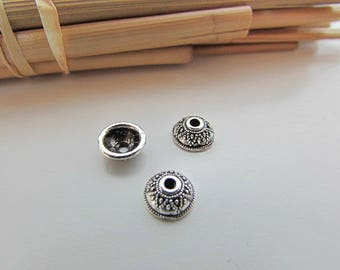 20 beads Cap 6 mm antique silver metal - hole 1.5 mm - 419.33