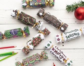 Christmas Bon-Bon Template Set | Set of 8 Christmas Bon-Bon coloring page templates | Printable PDF template, gift wrap idea for Christmas